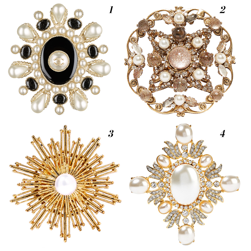 1. Chanel, 2. Erickson Beamon, 3. Oscar de la Renta, 4. Kenneth Jay Lane