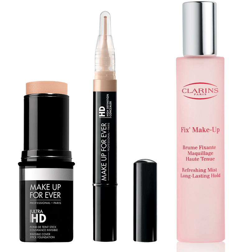Невидимое тональное покрытие Make Up For Ever Invisible Cover Stick Foundation, консилер Make Up For Ever High Definition Invisible Cover Concealer и фиксатор макияжа Clarins Fix Make Up