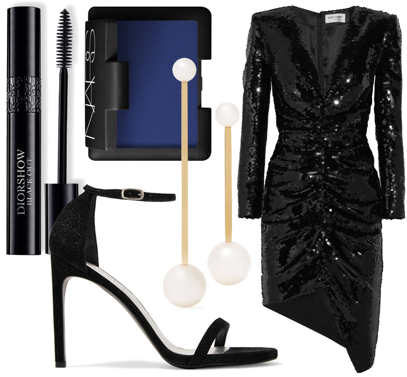 Платье Saint Laurent, босоножки Stuart Weitzman, серьги Sophie Bille Brahe, тени Nars в оттенке China Blue, тушь Diorshow Black Out.