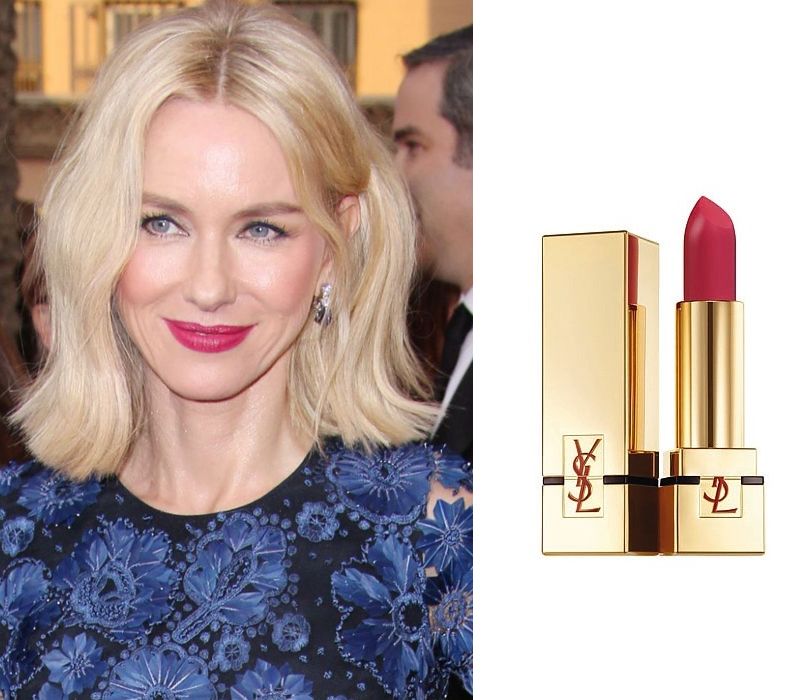 Total Beauty: матовые губы — тренд сезона весна-лето 2016. Наоми Уоттс — YSL Rouge Pur Couture The Mats 206 Grenat Satisfaction