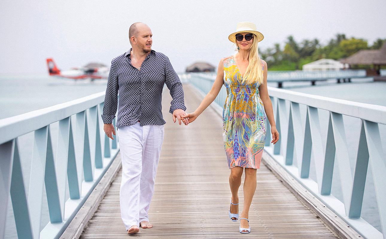 Актриса Анна Чурина и кинопродюсер Алексей Петрухин в Conrad Maldives Rangali