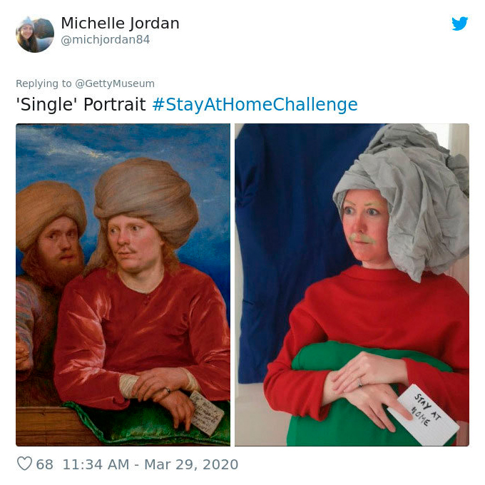 Фото дня: музеи запустили флешмоб #artathome, призывающий воссоздавать сюжеты известных картин дома