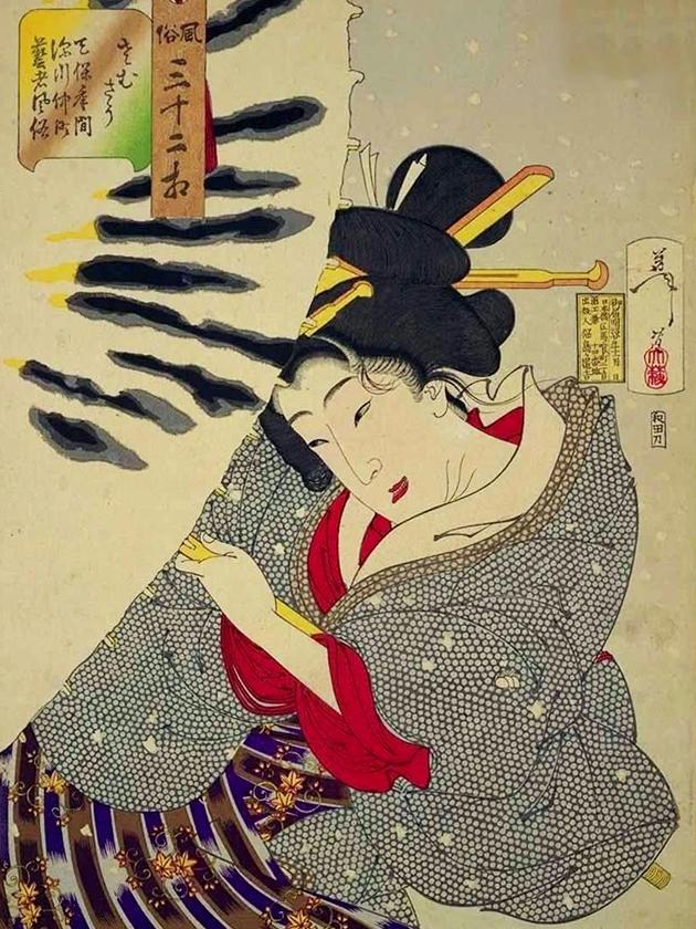 Гейша с улицы Накамати «весёлого квартала» Фукагава в эпоху Тэмпо [1830-1844]
