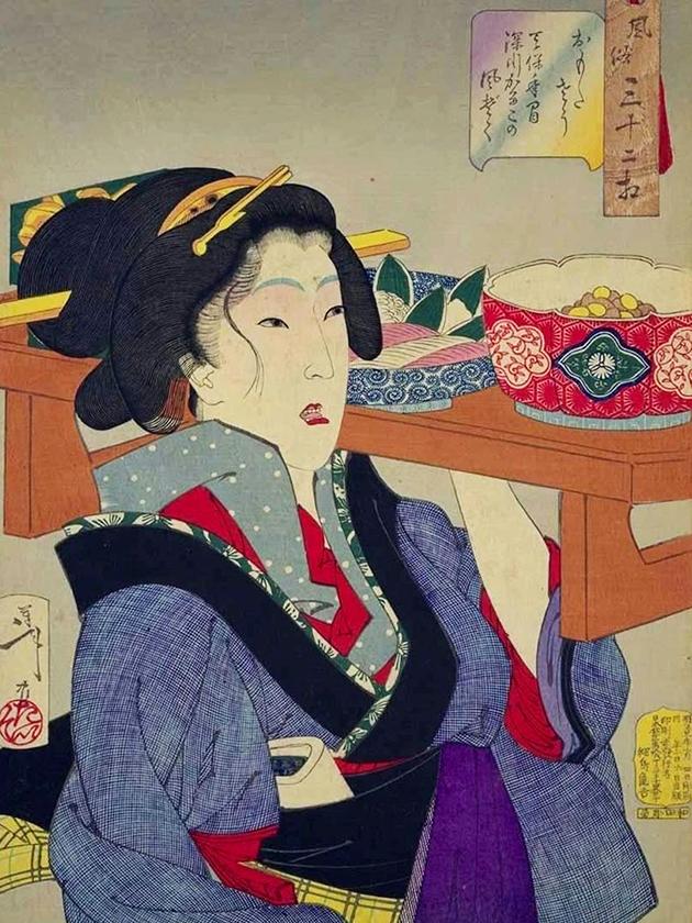 Официантка ресторана «весёлого квартала» Фукагава в эпоху Тэмпо́ [1830-1844]