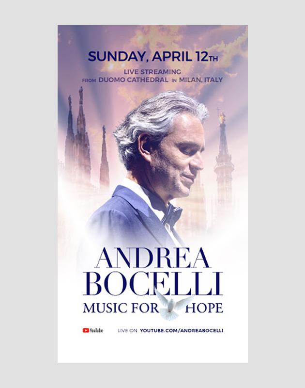 Концерт Андреа Бочелли будет транслироваться из Миланского собора