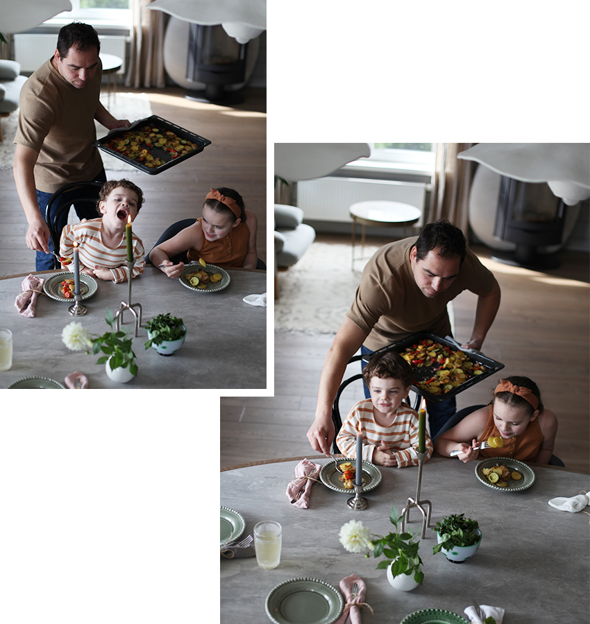 Шеф-повар ресторана Selfie Анатолий Казаков с дочкой Варваров и сыном Филиппом