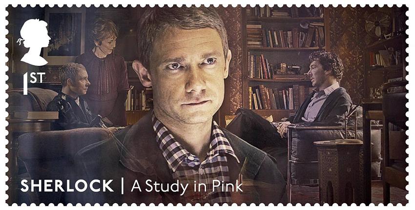 Почтовые марки с персонажами сериала «Шерлок»: доктор Ватсон (Мартин Фримен)
