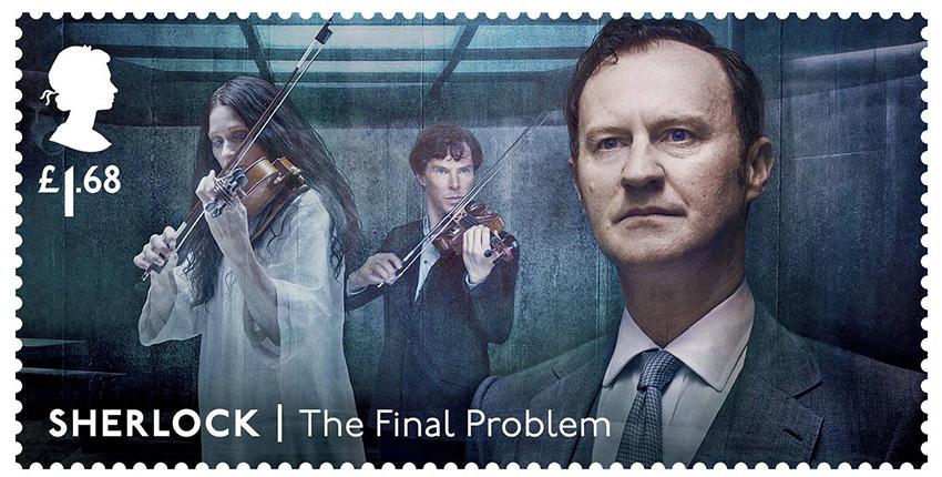 Почтовые марки с персонажами сериала «Шерлок»: Майкрофт Холмс (Марк Гэтисс)