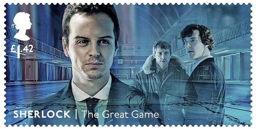 Почтовые марки с персонажами сериала «Шерлок»: профессор Мориарти (Эндрю Скотт)