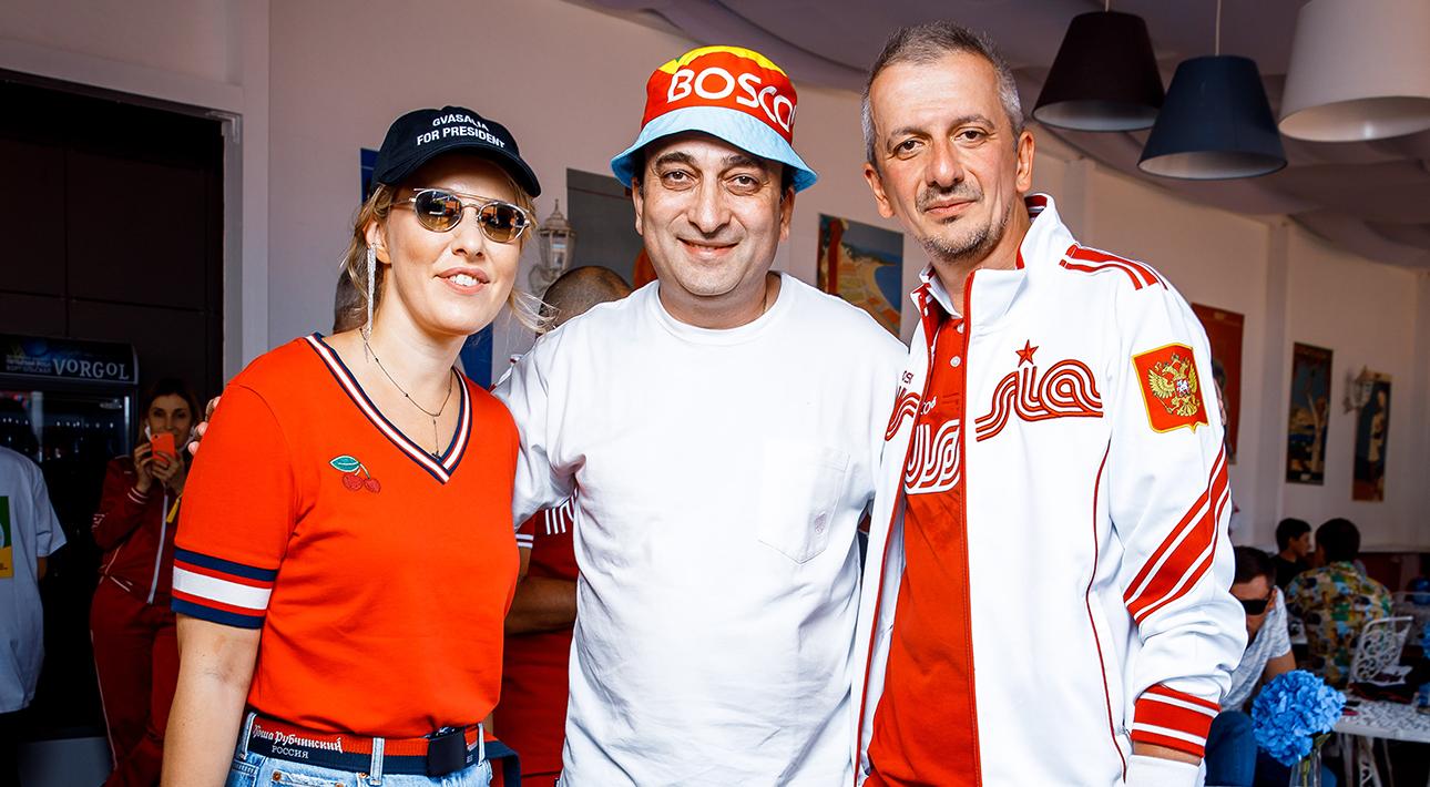 Ксения Собчак, Гор Нахапетян и Константин Богомолов