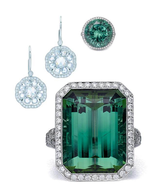 Серьги Tiffany Enchant из платины с бриллиантами и два платиновых кольца c зеленым турмалином