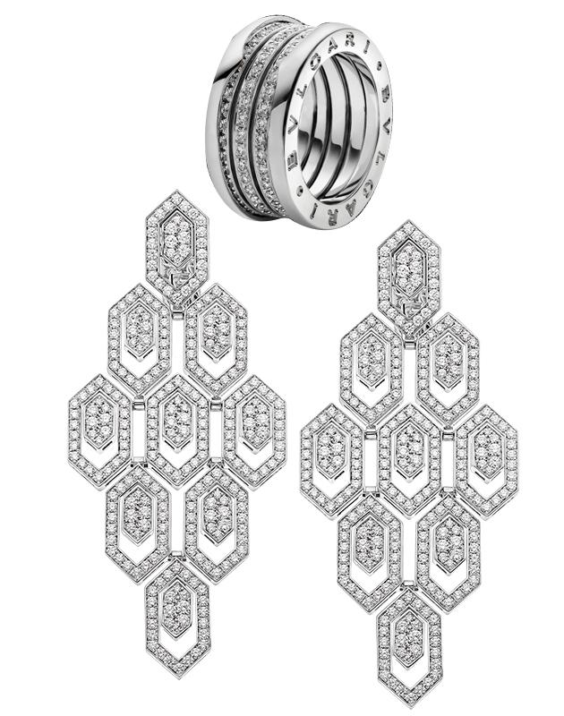 Серьги Bvlgari Serpenti из белого золота с бриллиантами и кольцо Bvlgari B.zero1 из белого золота с бриллиантами