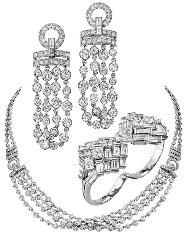 Колье Pluie de Cartier из белого золота и бриллиантов, серьги Pluie de Cartier и в кольцо Reflection de Cartier
