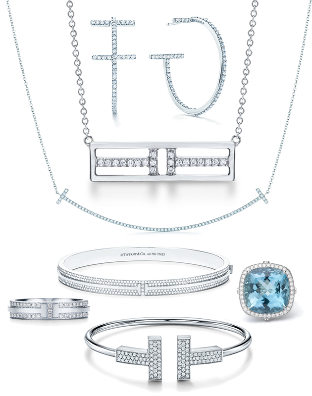 Подвески из белого золота с бриллиантами, браслеты и кольцо Tiffany T, кольцо Tiffany High Jewelry из платины с аквамарином и бриллиантами