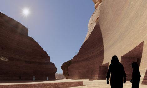 Жан Нувель представил проект высеченного в скалах отеля в Саудовской Аравии