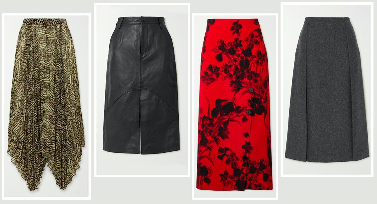 Юбки в этом сезоне — юбка-плиссе, кожаная, юбка-карандаш, юбка-трапеция: Isabel Marant, Remain Birger Christensen, Balenciaga, Prada