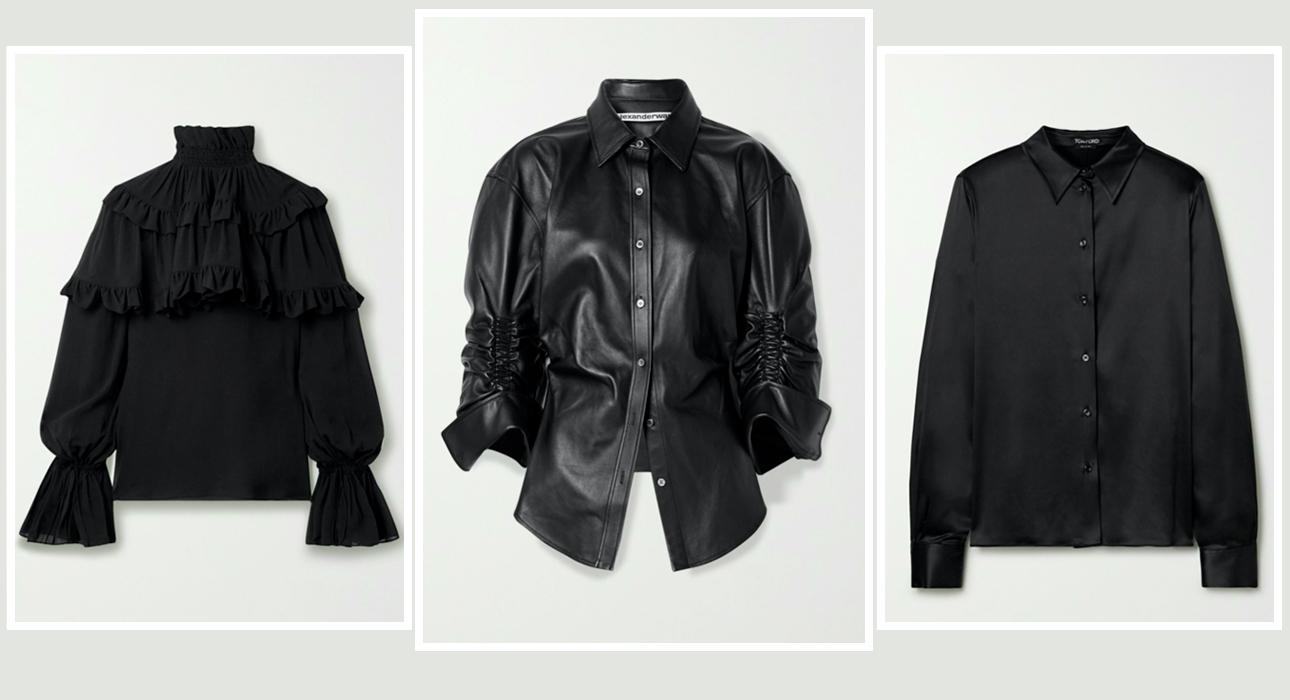 Блузы в этом сезоне — романтичная, кожаная, лаконичная: Saint Laurent, Alexander Wang, Tom Ford