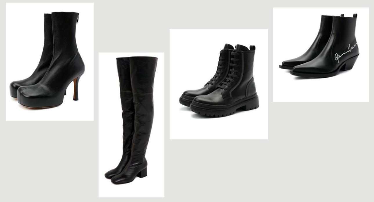 Обувь в этом сезоне — ботильоны, ботфорты, ботинки на шнуровке, казаки: Bottega Veneta, Marni, Brunello Cucinelli, Varsace