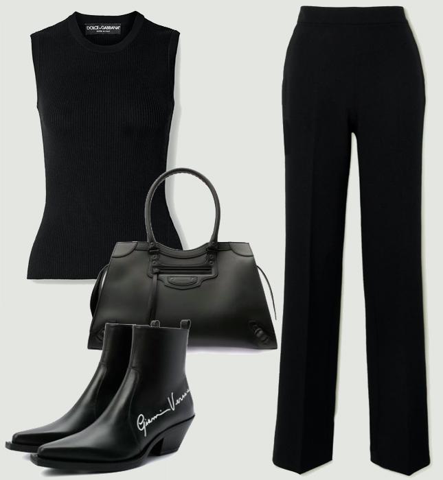 Брюки, Safiyaa; свитер, Dolce & Gabbana; обувь, Versace; сумка, Balenciaga