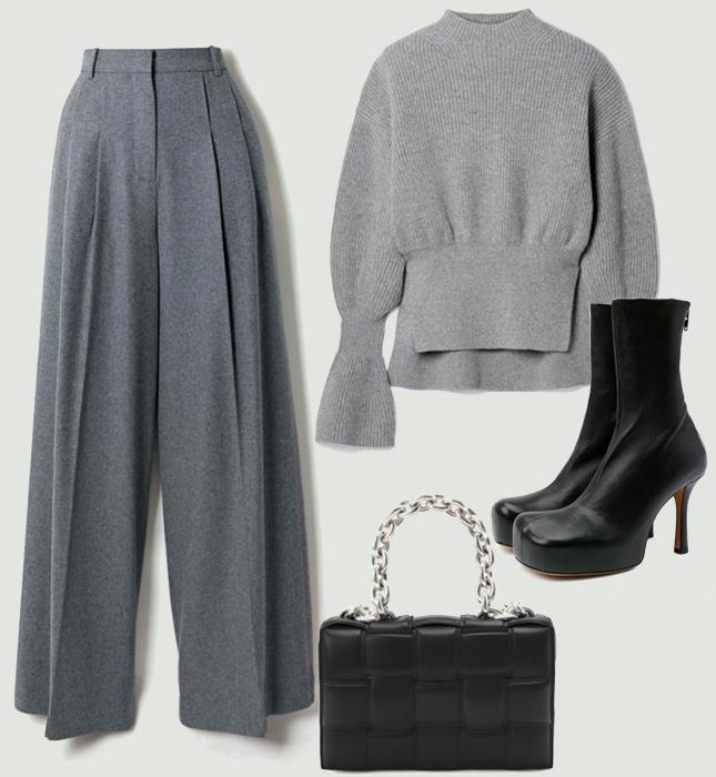 Брюки, Joseph; свитер, Alexander Wang; обувь и сумка, Bottega Veneta