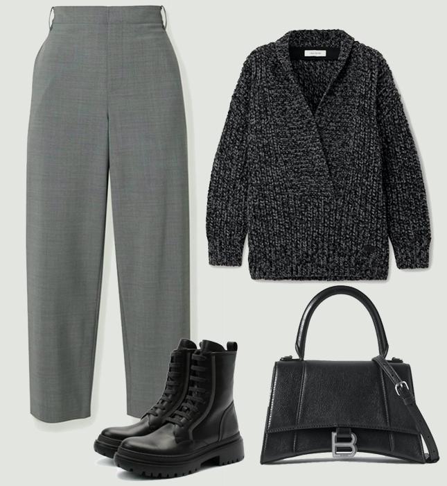 Брюки, TIBI; свитер, Valentino; обувь, Brunello Cucinelli; сумка, Balenciaga