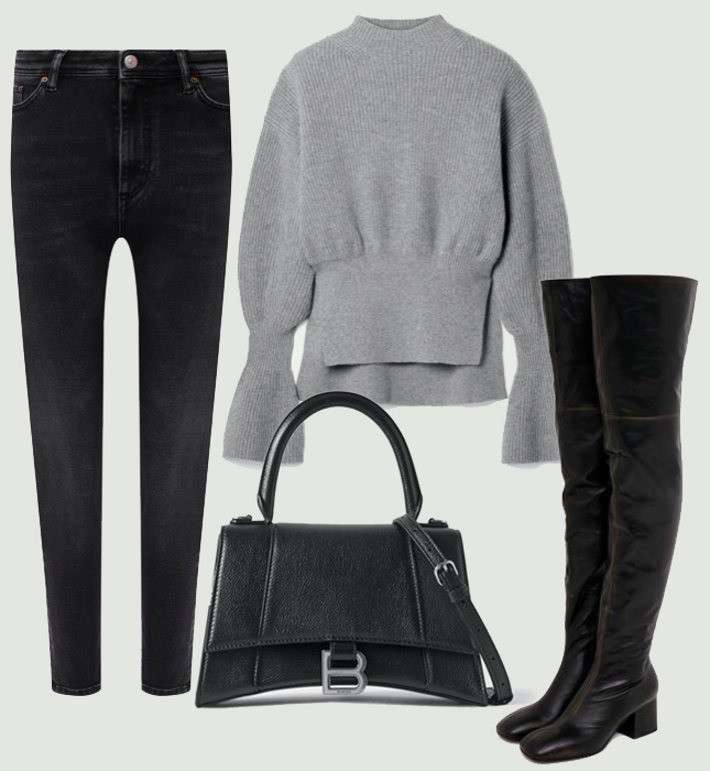 Джинсы, Acne Studios; свитер, Alexander Wang; сапоги, Marni; сумка, Balenciaga
