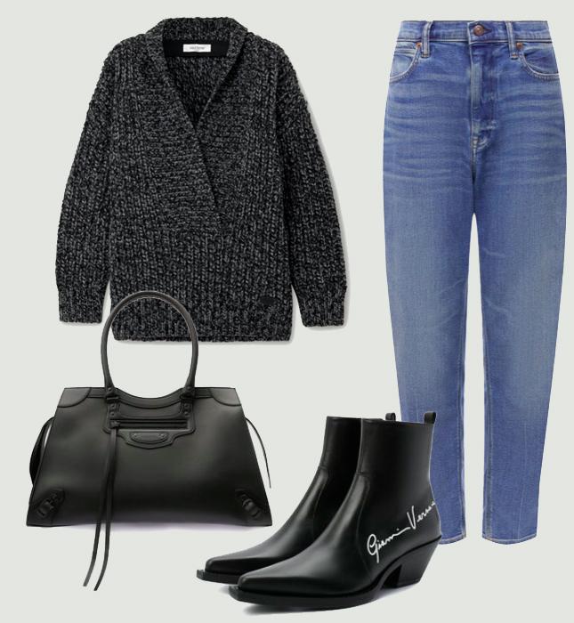 Джинсы, Polo Ralph Lauren; свитер, Valentino; сумка, Balenciaga; казаки, Versace