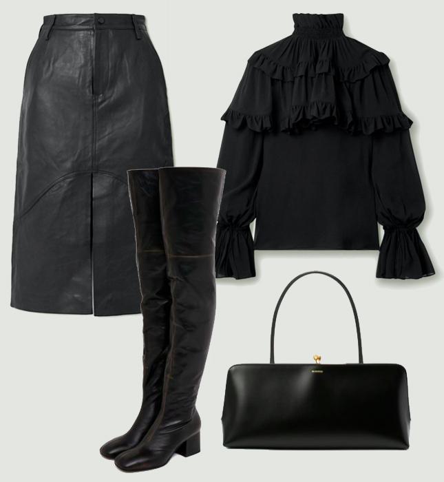 Юбка, Remain Birger Christensen; блуза, Saint Laurent; сумка, Jil Sander; сапоги, Marni