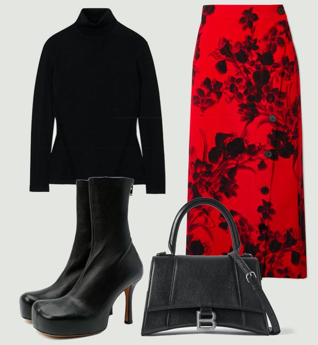 Юбка, Balenciaga; водолазка, Diane von Furstenberg; сумка, Balenciaga; ботильоны, Bottega Veneta
