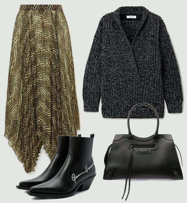Юбка, Isabel Marant; свитер, Valentino; сумка, Balenciaga; казаки, Versace