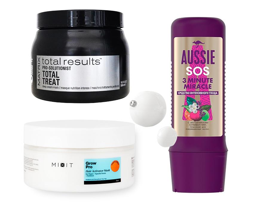 Крем-маска для экспресс-восстановления PRO Solutionist Total Treat, Matrix. Средство интенсивного ухода SOS 3 Minute Miracle, Aussie. Разогревающая маска-активатор роста волос Grow Pro, Mixit