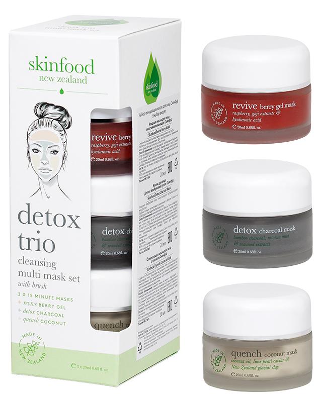 Набор очищающих масок для лица «Детокс трио», Skinfood