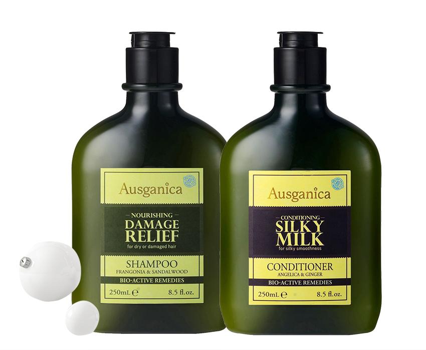 Органический шампунь для поврежденных волос и кондиционер «Шелковистое молочко», Ausganica
