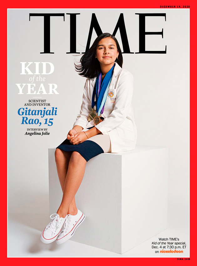 Впервые за всю историю своего существования авторитетный американский еженедельник ввел номинацию «Ребенок года». На это звание претендовали пять тысяч американцев в возрасте от 8 до 16 лет, в финале оказались пять детей — каждый получит премию от компании Viacom, владеющей Nickelodeon. В итоге «Ребенком года» стала 15-летняя изобретательница из Колорадо Гитанджали Рао. Номер Time с фото девушки на обложке, которая три года назад стала лучшим молодым ученым страны, выйдет 14 декабря. Кстати, год назад Рао попала в список «30 до 30 лет» Forbes. Напомним, что в прошлом году «Человеком года» по версии Time стала шведская экоактивистка Грета Тунберг. По словам представителей Time, движение Тунберг, борющейся с климатическими изменениями, красноречиво доказывает: сейчас молодежь обладает огромным влиянием на происходящее в мире и может менять его в соответствии со своим видением. И создание номинации «Ребенок года» стало естественным откликом на этот тренд. Процесс выбора оказался сложным: лучших из лучших определял целый отборочный комитет из звезд каналов Nickelodeon и Disney, репортеров Time For Kids и представителей разных фондов. В итоге победила юная жительница Колорадо, которая уже в будущем году планирует создать глобальное сообщество молодых новаторов для решения мировых проблем. Три года назад она уже громко заявила о себе, когда изобрела быстрый и недорогой способ, позволяющий определить наличие опасного загрязнителя — свинца — в питьевой воде. Толчком для изобретения стали теленовости. Девочка увидела сюжет о проблемах с водой в городе Флинт (Мичиган) и придумала устройство Tethys — фильтр из углеродных нанотрубок, определяющий наличие свинца в воде и передающий данные на смартфон по Bluetooth. За это изобретение компания 3M вручила ей премию в размере 25 000 долларов. «Я непохожа на типичного ученого. Ученые, которых я обычно вижу по телевизору, — пожилые белые мужчины». --- вынос В сфере интересов молодого ученого — исследование возможностей искусственного 