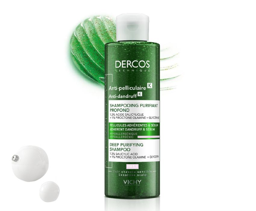 Глубоко очищающий шампунь-пилинг против перхоти Dercos K, Vichy