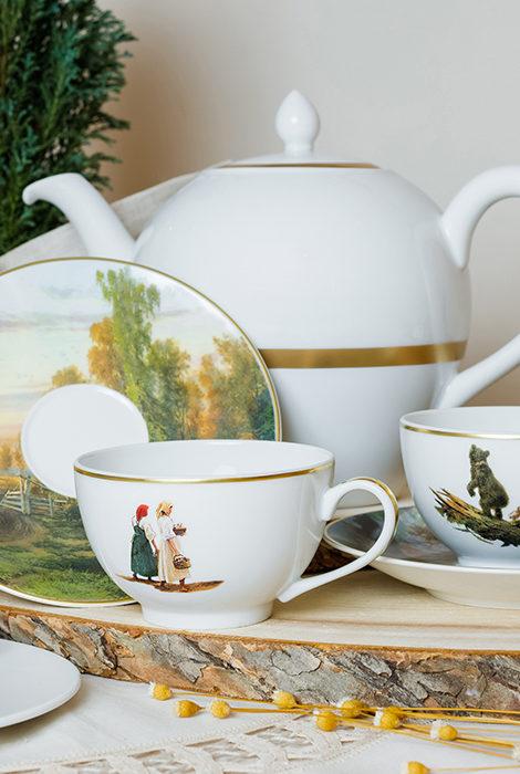 Идея подарка: Bernardaud и Третьяковская галерея представляют чайные пары из фарфора, украшенные работами Ивана Шишкина