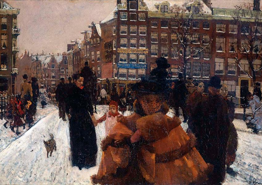 «Мост песен у Дворцовой площади в Амстердаме», Георг Хендрик Брайтнер, 1898