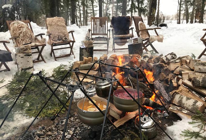 Björn: зимний ужин у костра, 27 февраля