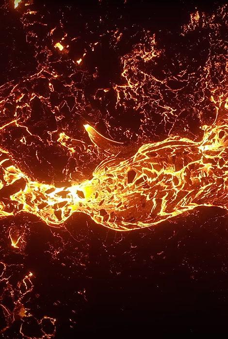Видео дня: извержение вулкана Фаградалсфьяль засняли с дрона