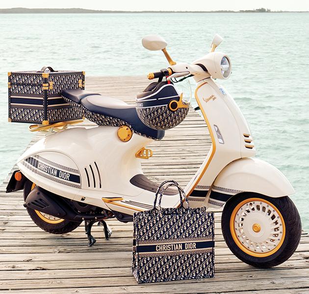 Dior создаст эксклюзивный скутер и коллекцию аксессуаров в коллаборации с Vespa