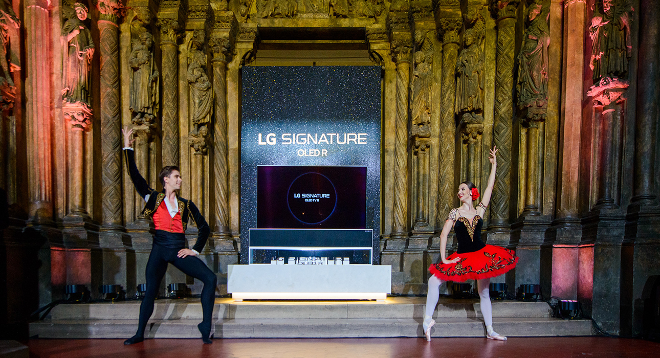 Презентация первого в мире сворачивающегося телевизора LG Signature Oled R