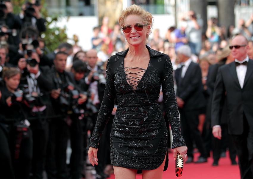 Шэрон Стоун в платье Emilio Pucci на премьере фильма «Поиск» (Каннский кинофестиваль, 2014 г.)