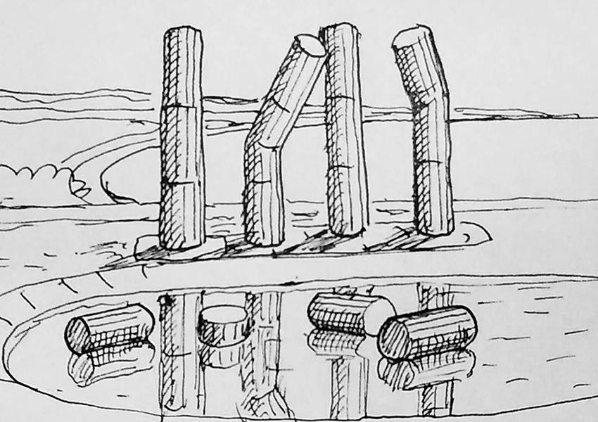 Группа ХУ. «Надувные колонны». Эскиз. 2021