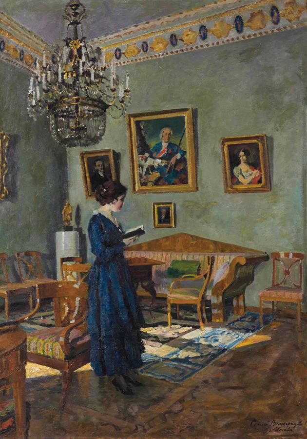 Виноградов С.А. Портрет жены в интерьере. 1919. Частное собрание