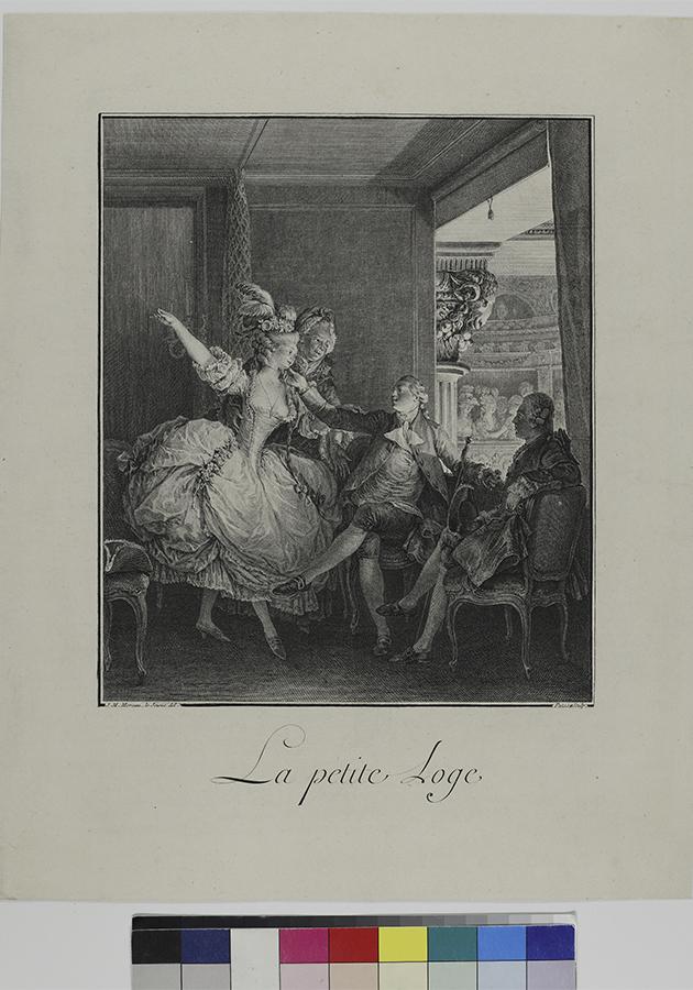 «В ложе (Небольшая ложа)». Лист из серии «Памятное свидетельство о моде и манерах». Франция. Автор рисунка Пата Ж. Моро Ж. (1741 — 1814). Период создания доски: 1776-1777