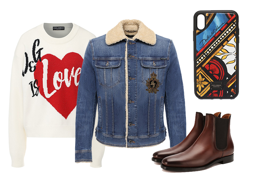 Джемпер D&G, джинсовка D&G, чехол D&G, обувь Ralph Lauren