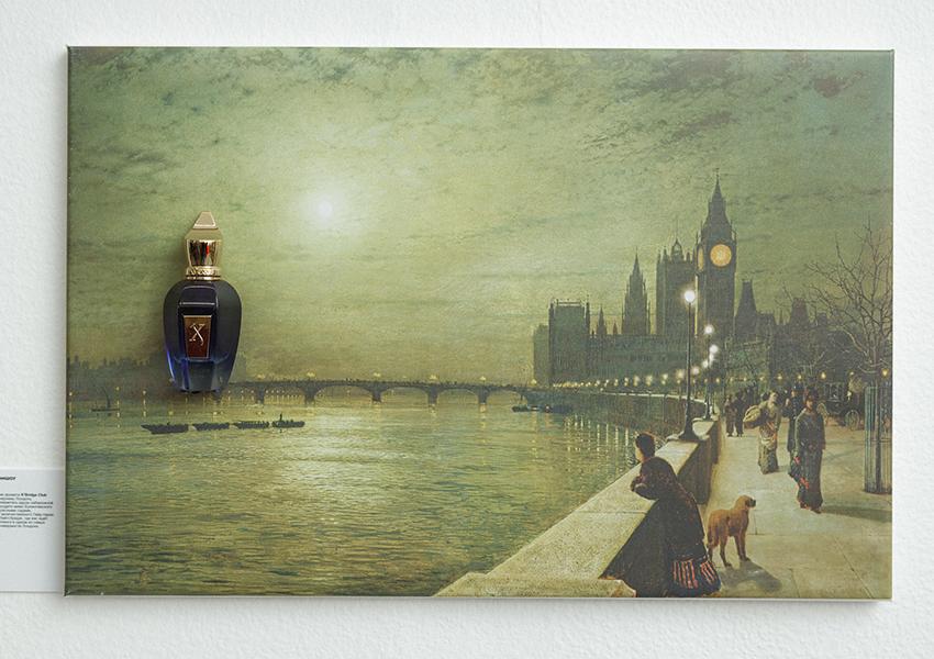 Аромат K'Bridge Club от Xerjoff на фоне картины Джона Эткинсона Гримшоу «Блики на Темзе»