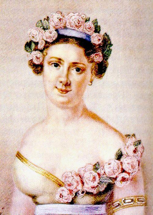 Авдотья Истомина в роли Флоры, балет «Зефир и Флора». Гравюра Ф. Иордана, 1820-е годы.