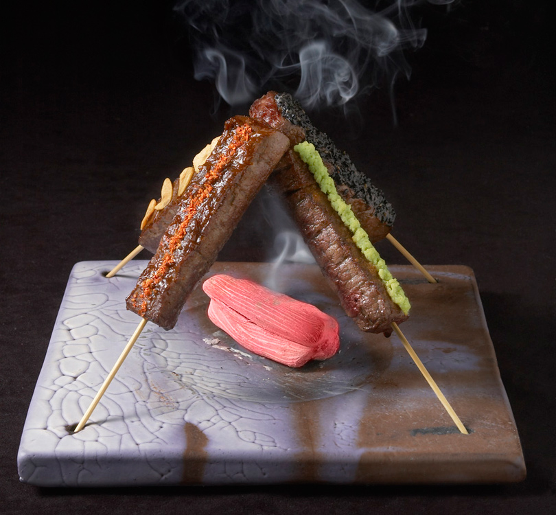 Kobe Beef Skewers with 4 flavors
