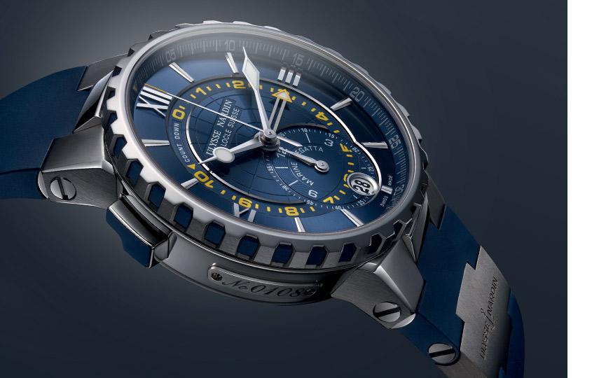 «Спортивные часы» Ulysse Nardin— Marine Regatta    Новаторский хронограф, очень простой виспользовании. Мануфактурный калибр оснащен таймером обратного отсчета времени достарта регаты— онможет быть установлен насрок от1до10минут, затем стрелка автоматически переключается напрямой отсчет. Эта функция получила патент.